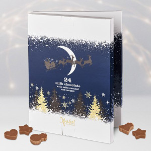 Adventskalender med choklad, kola och nougat