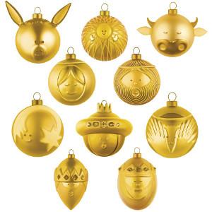 Guldiga julgranskulor från Alessi