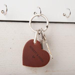 Nyckelring hjärta i läder - Romantisk julklapp - Till pojkvän & flickvän