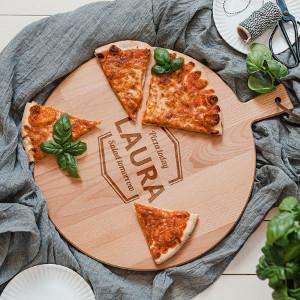 Pizza julklapp - Personlig planka med gravyr