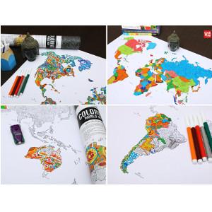 Världskarta med pennor